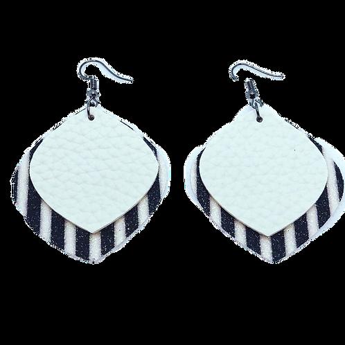 Black& White Striped Earrings - Stacked