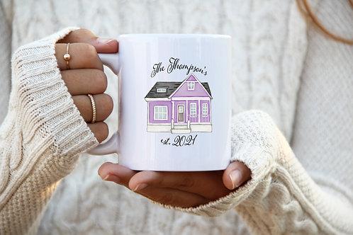 Homeowner Mug - Est. Date w/ Last Name (Purple)