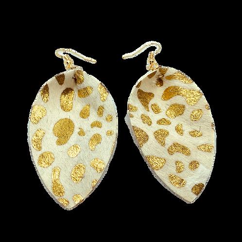 White & Gold Cheetah Print Earrings