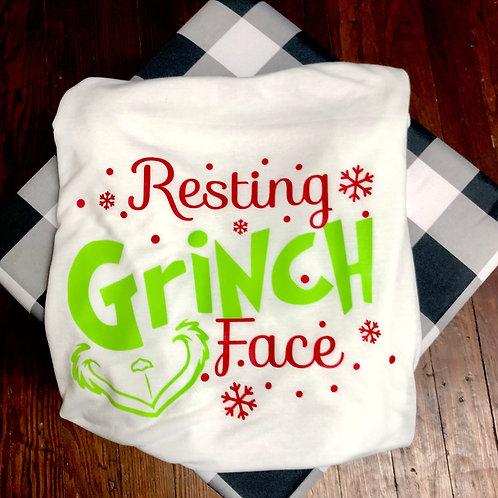 Resting Grinch Face TShirt (Screen Print)
