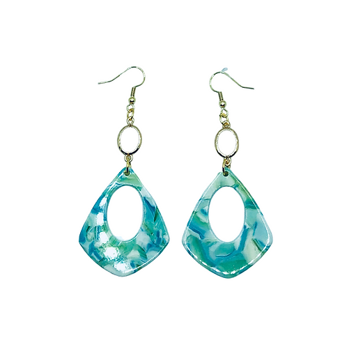 Blue Swirl Resin Acrylic Dangle Earrings