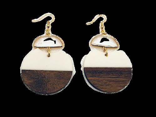 White & Wood Earrings