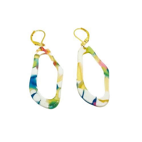 Oval Colorful Resin Acrylic Earrings