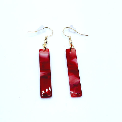 Red Infusion Bar Earrings - Short