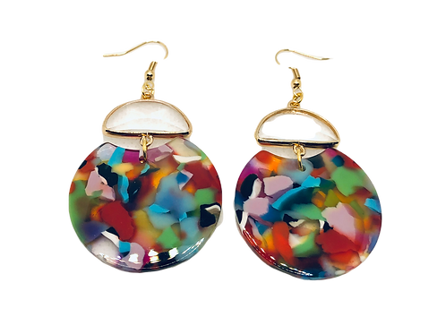 Multi Color Curved Circle Dangle Earrings