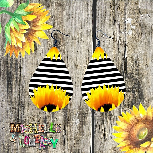 Sunflowers and Stripes - Earrings