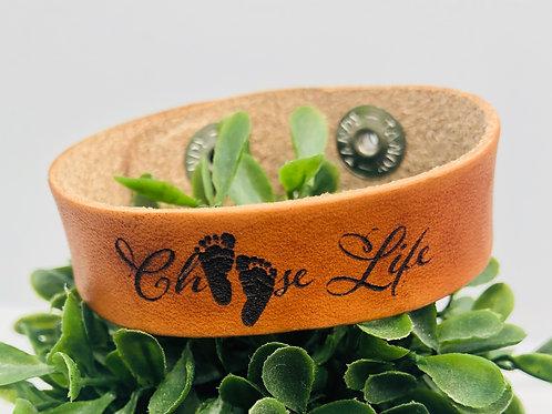 "Choose Life - 3/4"" adjustable leather cuff"