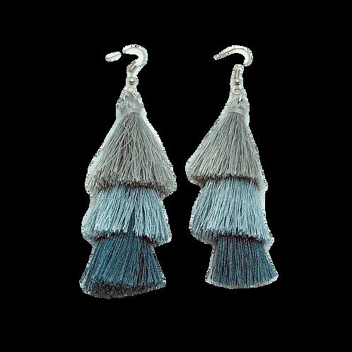 Blue & Gray Tassel Earrings - Large