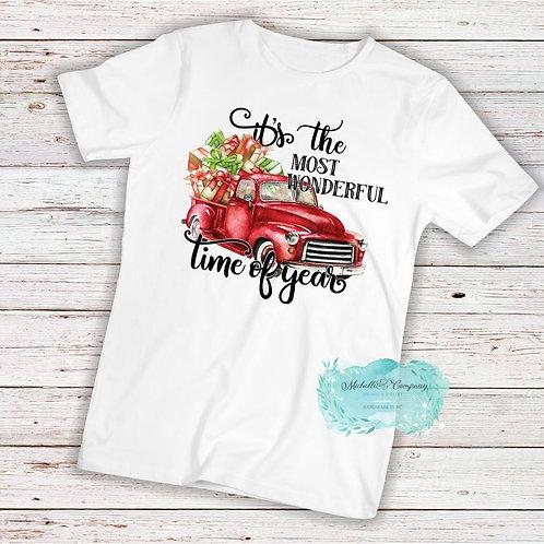 Red Christmas Truck - TShirt (Choose Design)