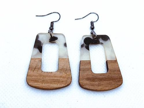 Wood & Resin Trapezoid Earrings