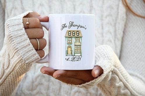 Homeowner Mug - Est. Date w/ Last Name (Tall Blue)