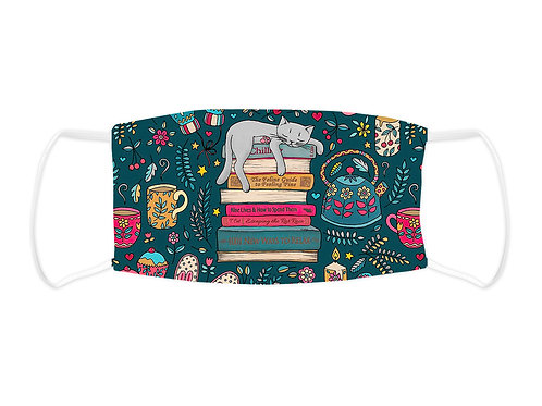 Cat and Books - Face Mask  (Non Medical Grade)