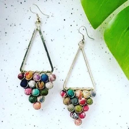 Kantha Reflective Chandelier Earrings