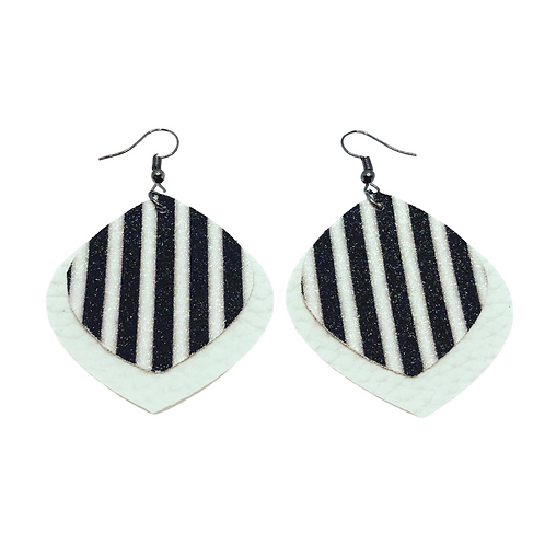 Stripped / Embossed Faux Leather Earrings