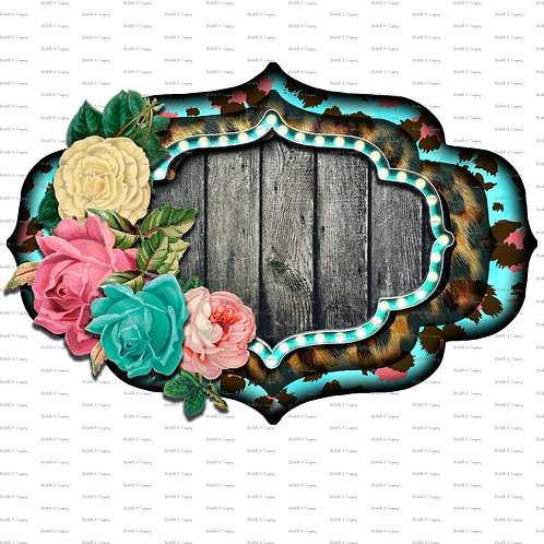 Blue Marquee Floral Frame