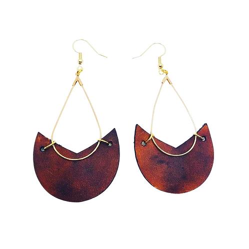 Genuine Leather V-Neck Earrings
