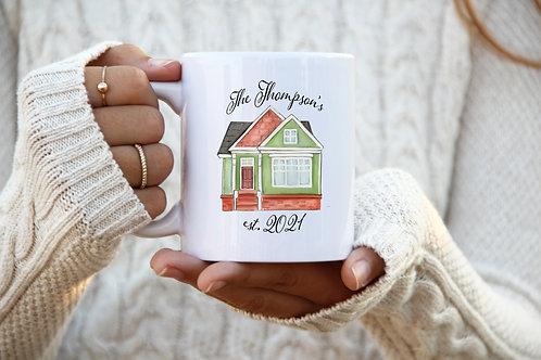 Homeowner Mug - Est. Date w/ Last Name (Green)
