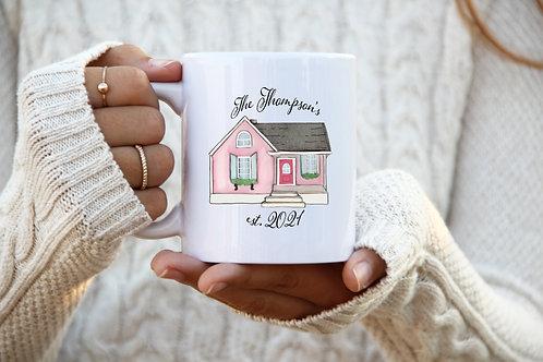 Homeowner Mug - Est. Date w/ Last Name (Pink)