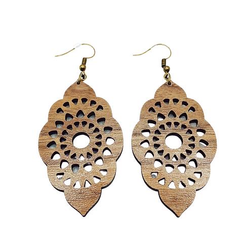 Spiraling Out - Walnut Earrings