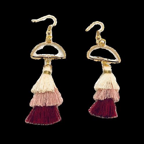Raspberry Tassel Dangle Earrings