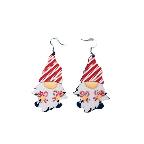 Candy Cane Gnome Earrings