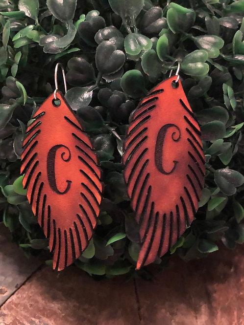Custom Genuine Leather Feather Earrings
