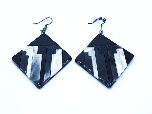 Black & White Color-block Earrings
