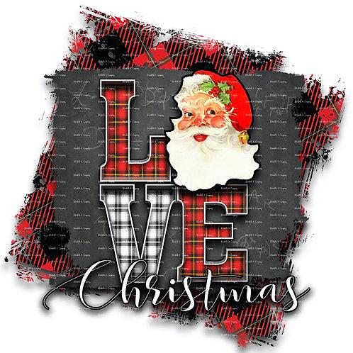 Love Christmas Santa Face - Full Background
