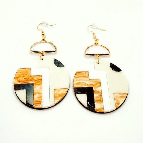 Color Block Acrylic Earrings - Large