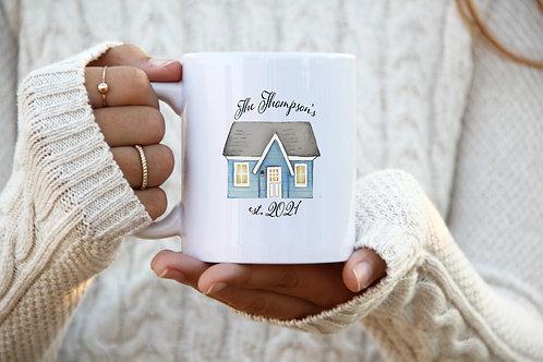Homeowner Mug - Est. Date w/ Last Name (Blue)