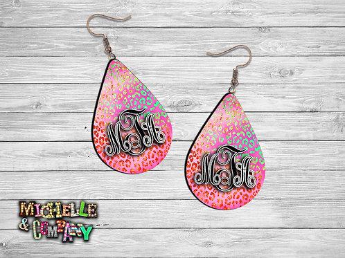 Monogram Earrings  - Dark Pink/Blue Cheetah