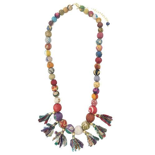 Kantha Fringed Bauble Necklace