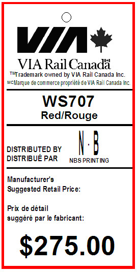 BENTLY - VIA RAIL - TAG - 1.375 X 2.75