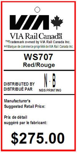 BENTLY - VIA RAIL - TAG - 1.375 X 2.75