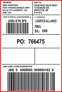 SHOPPERS DRUGMART - LABEL - 4 X 6