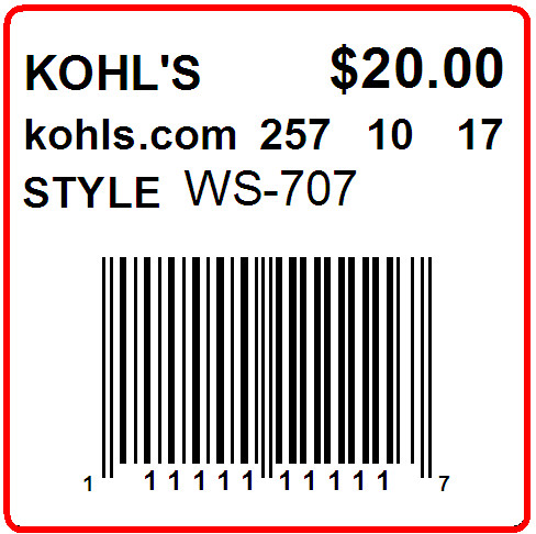 KOHLS - LABEL - 1.5 X 1.5