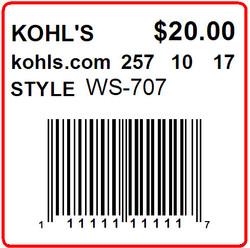 KOHLS - LABEL - 1.5 X 1.5