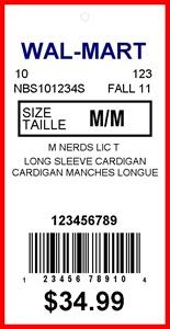 WALMART CANADA - TAG - 1.375 X 2.75-1