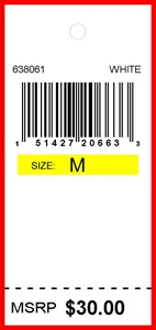 BURLINGTON COAT - TAG - 1.25 X 2.75 COLOR CODED