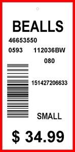 BEALLS - TAG - 2.625 X 1.25