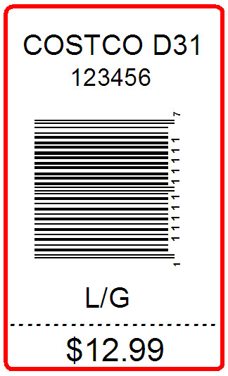 COSTCO - LABEL - 2.5 X 1.5 WITH PERF