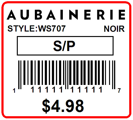 AUBAINERIE - LABEL - 1.25 X 1.125