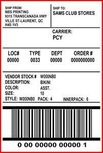 SAMS CLUB - LABEL - 4 X 6