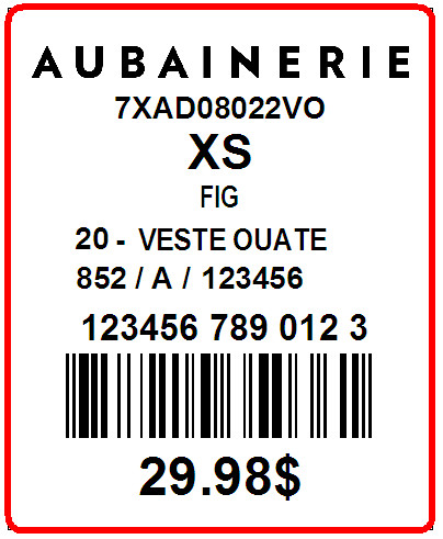 AUBAINERIE - LABEL - 1.3 X 1.6