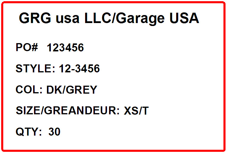 GARAGE - LABEL - 4 X 6 SHORT
