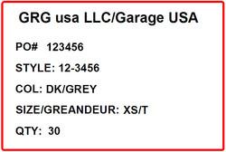 GARAGE - LABEL - 4 X 6 SHORT