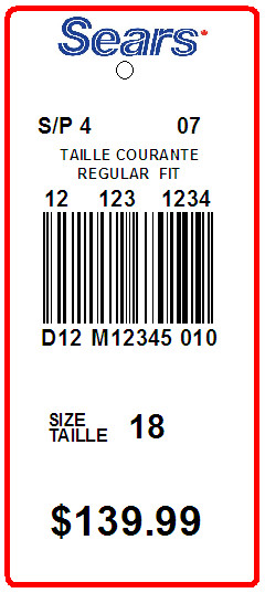 SEARS - TAG - 3.25 X 1.375 -2