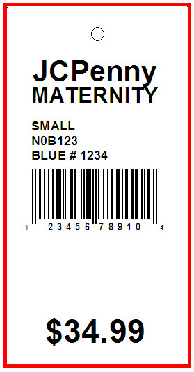 JC PENNY MATERNITY - TAG - 1.375 x 2.75