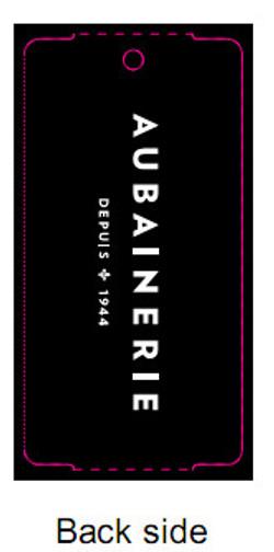 AUBAINERIE - TAG - 1.375 X 2.75Back side