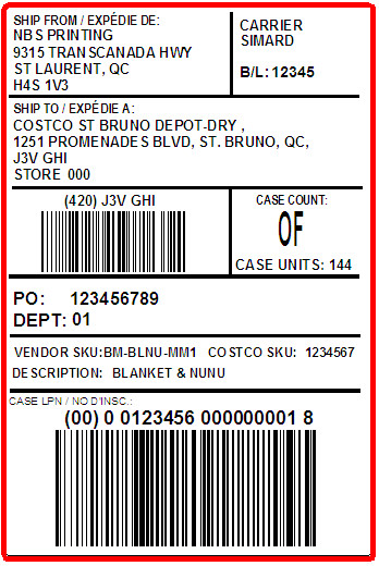 COSTCO - LABEL - 4 X  6